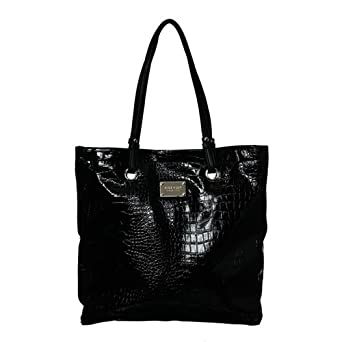 Nine West Tote'em Large Croco Tote (Black)