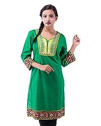 The Luxorian Women's Cotton Kurti (Green, Large)