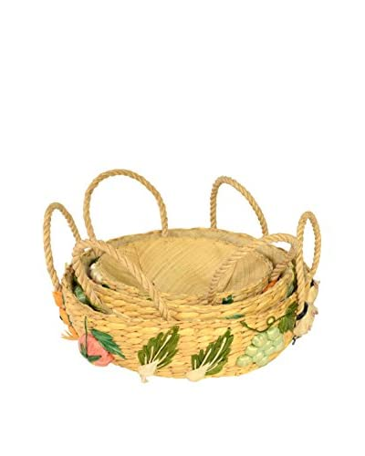 Uptown Down Previously Owned Set of 3 Woven Raffia Baskets