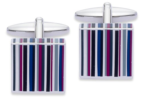 Code Red Base Metal Rhodium Plated With Black, Shades Of Purple & Pink Enamel Cufflinks