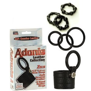 419MBmpi 4L. SL500  California Exotics / Swedish Erotica Adonis Leather Collection Zeus Rings Adult Sex Toy Kit