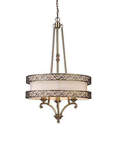 Artistic Lighting Abington 3-Light LED Pendelier, Antique Brass