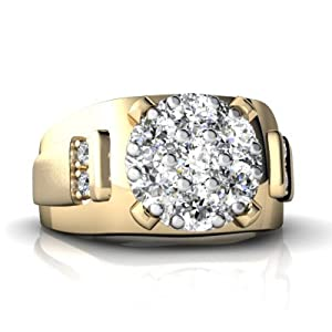 14K Yellow Gold White Diamond Men's Men's Ring Size 11