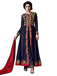Charming Navy Blue Coloured Embroidered Semi-Stitched Dhupian and Georgette Salwar Suit With Dupatta
