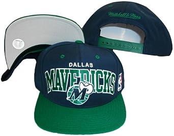 Dallas Mavericks Navy Green Two Tone Snapback Adjustable Plastic Snap Back Hat Cap by Mitchell & Ness