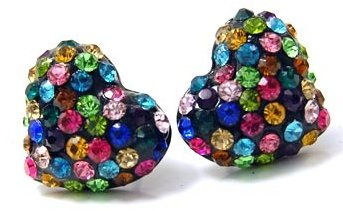 Adorable Sparkling Multicolor Crystal Embellished Heart Stud 1/2