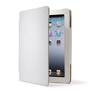 AYL Leather Case Folio 3-in-1 built-in Stand with Stylus Pen Holder for Ipad 2 -White