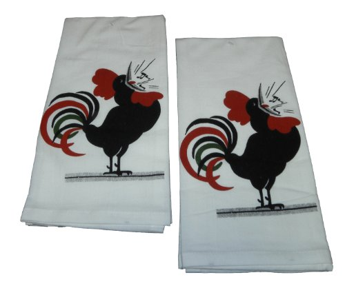 Red & White Kitchen Ready Rooster Dish Towel, Set Of 2