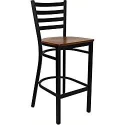 Flash Furniture XU-DG697BLAD-BAR-CHYW-GG Hercules Series Black Ladder Back Metal Restaurant Bar Stool with Cherry Wood Seat