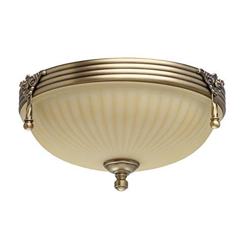 Lampadario da soffitto elegante incasso colore ottone antico e beige forma rotonda metallo vetro scannellato retro con pattern in stile barocco classico Ø32cm 2-bulb escl, E27 2x60W 230V