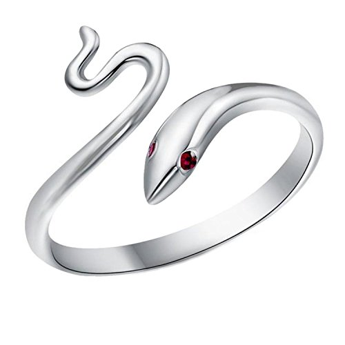 TomSunlight 925 Sterling Silver Adjustable Finger Opening Ruby Eye Snake Ring (Snake Ring Sterling Silver compare prices)