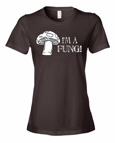Ladies I'M A Fungi Fun Guy Funny Mushroom Fungus Humor T-Shirt-Brown-2X