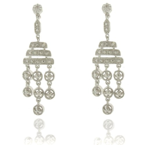 Silver Overlay Diamond Accent Chandelier Drop Earrings