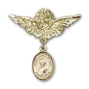 14K Gold Baby Badge with St. John Neumann Charm and Angel with Wings Badge Pin