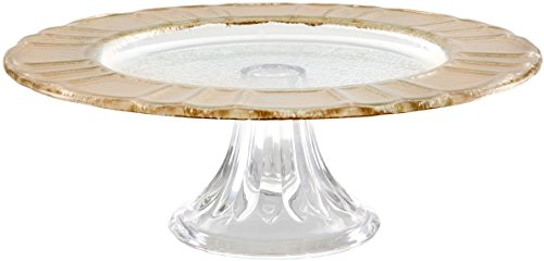 Durable Glass Gold Rim Design Cake Stand, Beautiful Footed Party Centerpiece(10.94