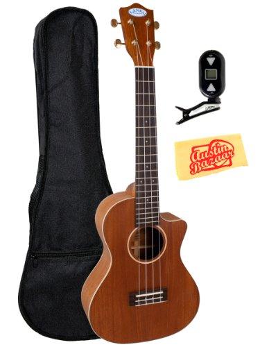 Lanikai Lm-Tca Solid Mahogany Acoustic-Electric Tenor Ukulele Bundle With Gig Bag, Tuner, And Polishing Cloth