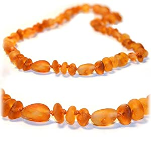 The Art of CureTM *SAFETY KNOTTED* Raw Olive & Baroque - Baltic Amber Baby Teething Necklace -(Unisex) - Certified Baltic Amber Baby Teething Necklace Highest Quality Guaranteed- Anti Inflammatory, Drooling & Teething Pain. Easy to Fastens with a Twist-in Screw Clasp Mothers Approved Remedies!