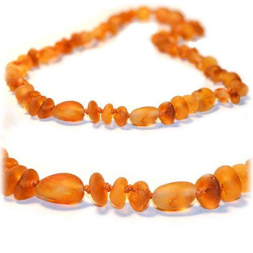 The Art of Cure Baltic Amber Teething Necklace (Unisex) (Raw Olive/Round) - Anti-inflammatory, Drooling & Teething Pain Reduce Properties - 100% Authentic Certificated Baltic Jewelry with the Highest Quality Guaranteed. Easy to Fastens with a Twist-in Screw Clasp Mothers Approved Remedies! - 1
