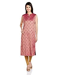 Mother Earth Women's Straight Kurta (EWL-KASL-01_Pink_M)