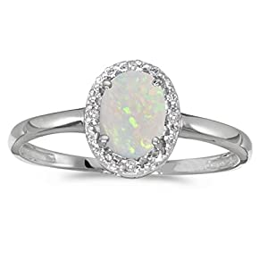 10k White Gold Oval Opal And Diamond Ring (Size 6)