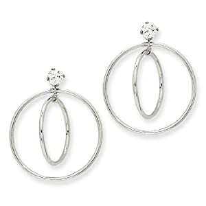 14k White Gold Double Hoop Earring Jackets. Gold Weight- 1.61g.