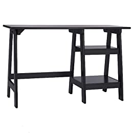 Braxton Trestle Desk - Black