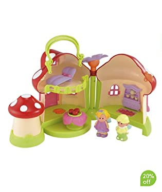 With a carry handle to take your fairy toadstool on your next fairytale adventure.  Includes:  fairy toadstool cottage  2 fairies  1 fairy bed  1 petal table  Suitable for ages 1 - 4yrs