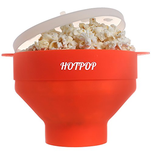 Popcorn Maker - Collapsible Microwave Silicone Popcorn Popper BPA free with Lid - Promotional Price (Above Range Convection Oven compare prices)