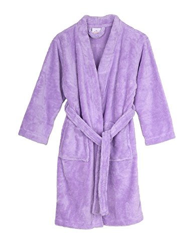 TowelSelections Big Girls' Kimono Plush Robe Soft Fleece Bathrobe Size 12 Lavender