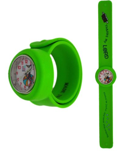 Lime Green Thank The Lord Slap Band Watch - Slap Band Wristwatch