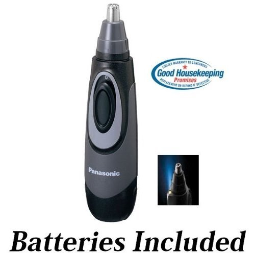 Panasonic All-in-One Nose & Ear Hair Trimmer with Built-in Light, Wet/Dry Operation & Dual-Edge Stainless Steel Blade * Batteries Included *