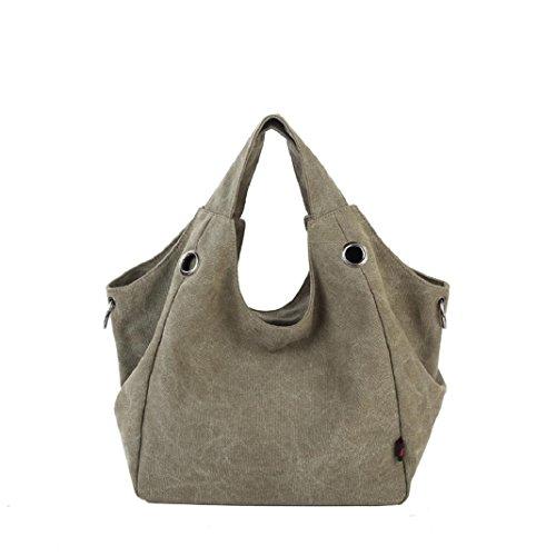 Kingko Borse Donna di tela di canapa dei sacchetti di spalla di alta qualità Shopping Tote di colore della caramella Casual Messenger Bag (Army Green)