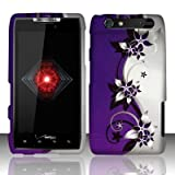 Motorola Droid Razr xt912 Accessory - Purple/Silver Vines Design Protective Hard Case Cover for Verizon + 4.5 INCHES Screen/Lens Cleaning Cloth