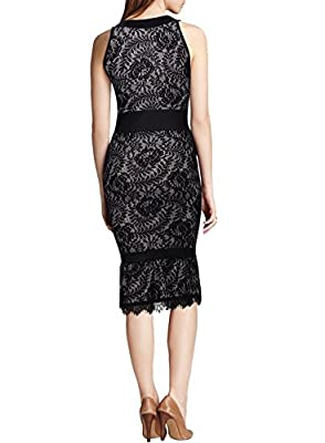 Miusol® Women's Deep-V Neck Floral Lace Sleevless Sexy Bridesmaid Dress