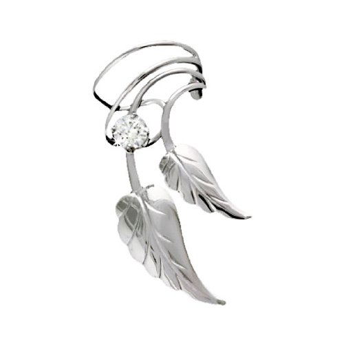 Sterling Silver Right Only Double Leaves With Cubic Zirconia Ear Cuff