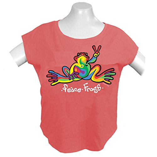 peace-frogs-retro-frog-ladies-dolman-licensed-t-shirt-coral-x-large