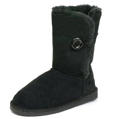 Alpine Swiss Womens Black Button Flats Faux Sheepskin Fur Comfort Boots 5 M US