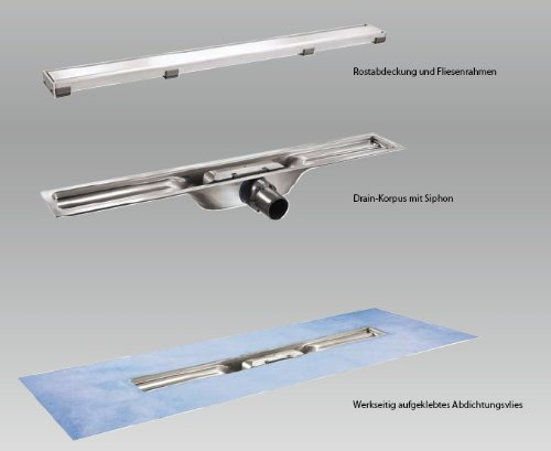 I-DRAIN Linear Länge 80cm Duschrinne 54mm mit Roste Plano matt