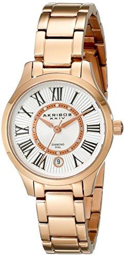 Akribos XXIV Women's AK570RG Lady Diamond Stainless Steel Diamond Bracelet Watch
