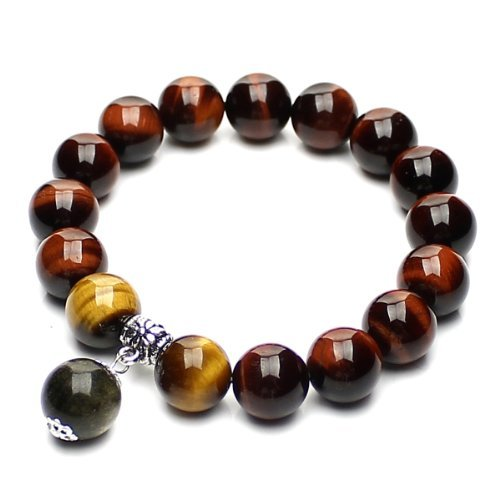 O-stone Wishing Bead Bracelet Series Red Tiger's Eye + Yellow Tiger's Eye + Golden Obsidian + Tibetan Silver Grounding Stone Protection Amulet 12mm