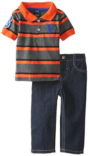U.S. Polo Assn. Baby-Boys Infant Jersey Polo And Denim Jean Set, Harvest Orange, 12 Months