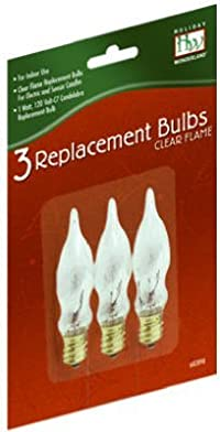 Noma/Inliten-Import 1078-88 Christmas Candle Replacement Bulb, C7, Clear Flame, 3-Pk. - Quantity 25