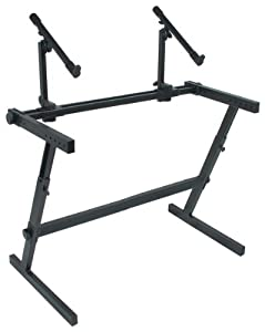 Quik Lok Z/726 L Double Tier Extra-Wide Height Adjustable Z-Style Keyboard Stand