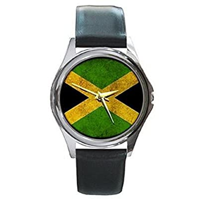 CDG433 Flag Of Jamaica Jamaican Stylized Silver Watch Black Leather