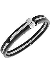 Fashion Alloy Black Silver-Tone Handcuff Mens Bracelet with Clasp