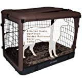 Pet Gear The Other Door Steel Crate with Fleece Pad for Cats and Dogs Up to 90-Pounds, Chocolate