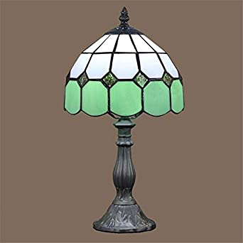 Ferand 8 tiffany table lamp glass shade bedroom bedside for Glass bedside lamp shades