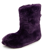 Per Una Faux Fur Pom-Pom Boot Slippers