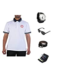 Garushi White T-Shirt With Watch Belt Sunglasses Cardholder - B00YMLII1Q