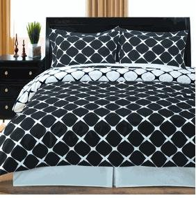 Black & White King/Cal.King 3Pc Bloomingdale Duvet Cover Sett front-1038760